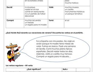 Spanish KS3 GCSE holidays preterite past tense las vacaciones preterite reading writing