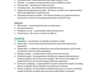 GCSE Statistics Glossary