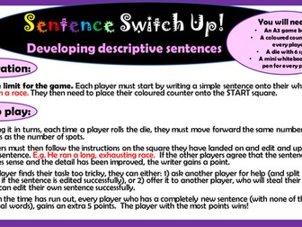Key Stage 2 English: Sentence Switch Up game to develop sentence description