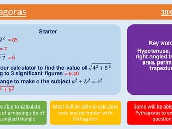 GCSE Pythagoras lesson with worksheet