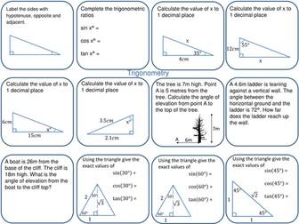 GCSE Foundation revision mat trigonometry and trig ratios