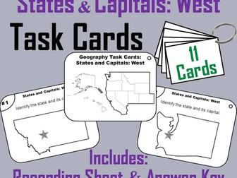 States and Capitals Task Cards: West Region