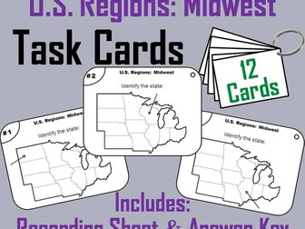 US Geography Task Cards: Midwest Region of the United States