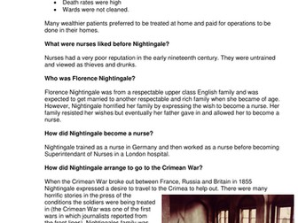 GCSE History Medicine in Britain L13 The influence of Florence Nightingale