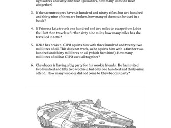 Star Wars themed maths problems