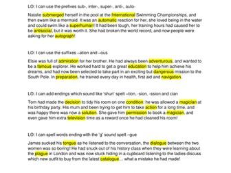Y4 Spelling focus dictation passages