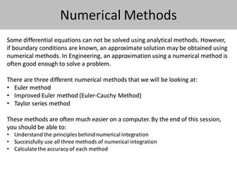 Numerical Methods for solving 1st order differential equations