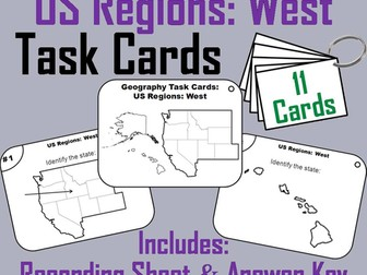 US Geography Task Cards: Western Region of the United States