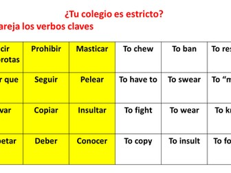 GCSE Spanish school rules reading vocabulary grammar activity _ las reglas del colegio