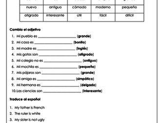 Spanish adjective revision: translation and writing practice with a focus on agreement (Zoom)