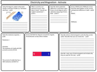 KS3 Activate Science - Electricity and Magnetism Topic Revision