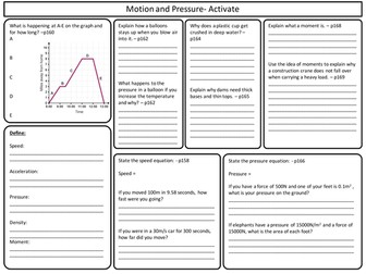 KS3 Activate Science - Motion and Pressure topic Revision Worksheet