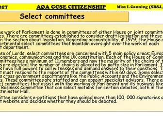 How Parliament Works-AQA GCSE CITIZENSHIP
