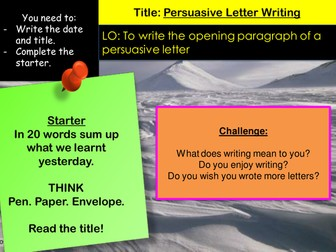 Persuasive Letter writing