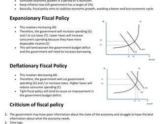 Economics AQA AS/A level Macroeconomics Fiscal and Supply side Policies