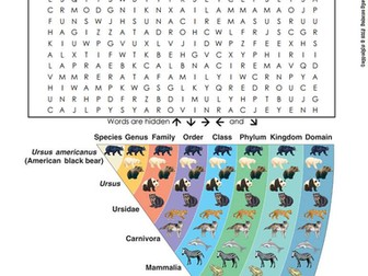 Classification and Taxonomy Word Search