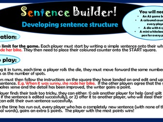 KS2 English: Sentence builder game to develop sentence structure