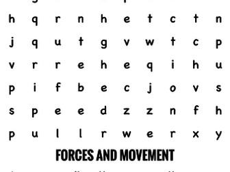Science Wordsearch. Forces and movement