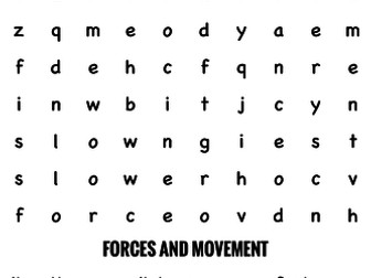 Science Wordsearch. Forces and movement 3