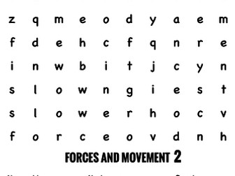 Science Wordsearch. Forces and movement 2
