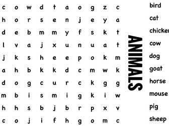 Science Wordsearch. Animals