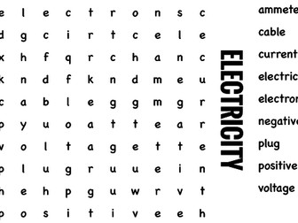Science Wordsearch. Electricity
