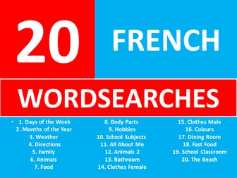 20 Wordsearches French Language Keywords KS3 GCSE Wordsearch Starter Plenary Cover Lesson