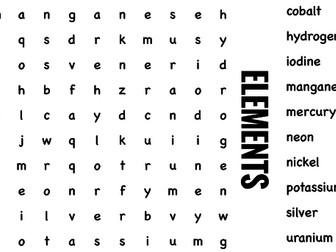 Science Wordsearch. Elements