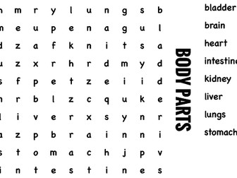 Science Wordsearch. Body parts