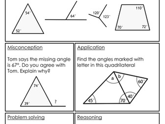 Mastery Maths - Angles - Solve missing angle problems