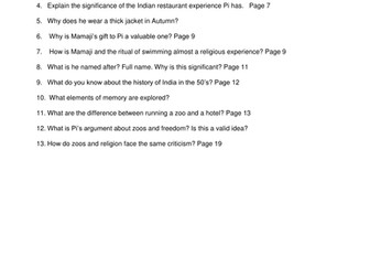 Life of Pi Questions: chapter 1-4