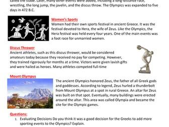 Ancient Greek Sports Worksheet