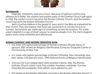 Byzantine Empire: Roman Catholicism and Eastern Orthodoxy worksheet