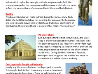 Hinduism and Buddhism art worksheet