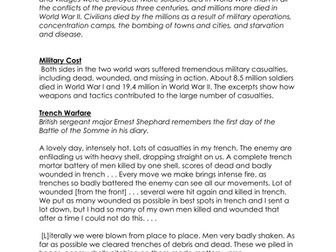 The Human Cost of War: World war I and World War II - DBQ