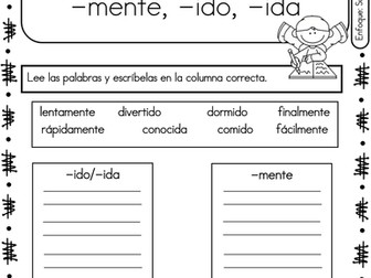 Spanish Phonics Book Set #23: Sufijos mente, ido, ida