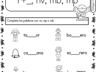 Spanish Phonics Book Set #24: Combinaciones mp, mb, nv, r y consonantes