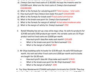 Edexcel GCSE Business Unit 3.3 Breakeven and Profit questions