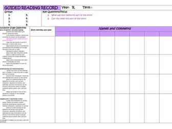 Reception Guided Reading Planner