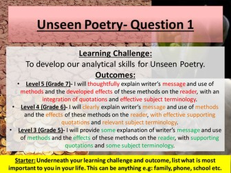 Unseen poetry: Blessing- GCSE AQA