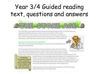 Year 3/4 guided reading pack - the stone age