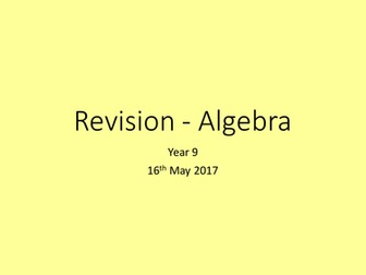 Revision Lesson and Activities - Algebra