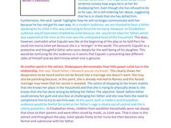 AQA Romeo and Juliet Model Answer