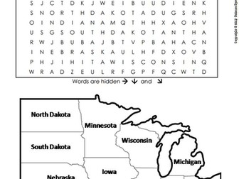 US Regions: Midwest Word Search