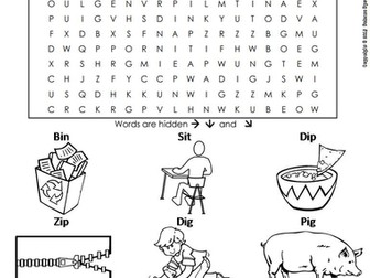 CVC Words: Short I Word Search
