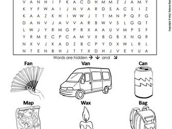 CVC Words: Short A Worksheet/ Word Search