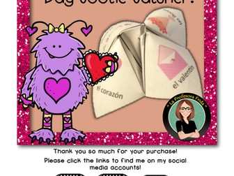 Spanish Valentine's Day Fortune Teller, Cootie Catcher, Speaking Activity