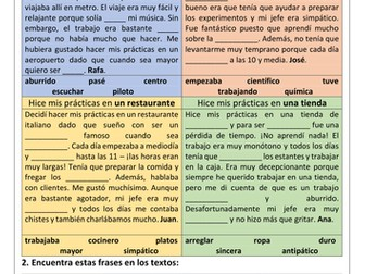 Spanish GCSE work experience & world of work reading comprehension _ vocabulary