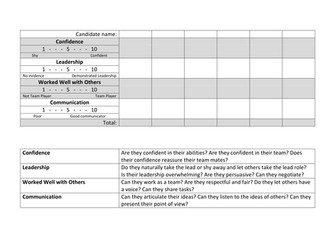 Team Building Assessment Grid