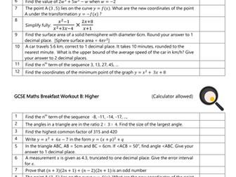 Breakfast Revision: Higher GCSE Workout